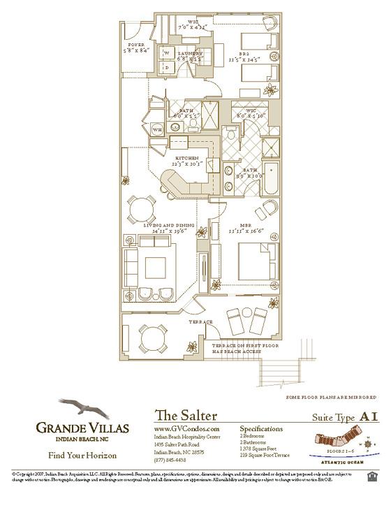 Grande villas 6 b 2 br oceanfront condo in indian beach nc for Indian villa designs floor plan layout