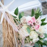 Emerald Isle, NC Beach Wedding Chair and Flower Ceremony Set up