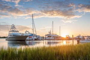 Boats docked in the harbor in Beaufort.