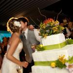 Emerald Isle Couple Kissing at Reception