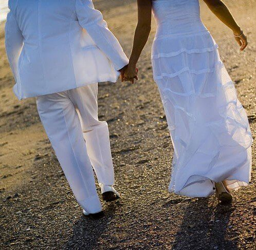Bride and Groom on Emerald Isle Beach