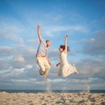 Excited Couple on the Beaches of Emerald Isle NC