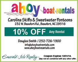 Ahoy Boat Rentals Coupon Beaufort NC