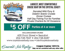 Crystal Coast Lady Coupon Cruise Boat