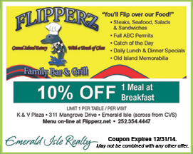 Flipperz Family Bar & Grill Coupon Emerald Isle NC