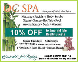 OC Spa Coupon Indian Beach NC