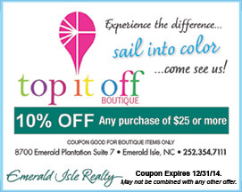 Top it Off Boutique Coupon Emerald Isle NC