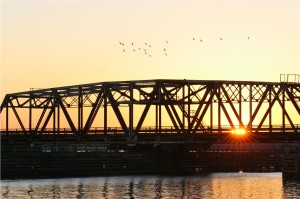 New Bern sunset bridge
