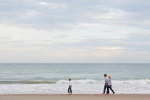 Family Walking on the Beach of Emerald Isle, NC