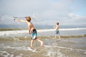 Fall Fishing -- Kids Casting a net