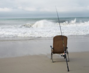 Fishing Pole on Emerald Isle NC Beach