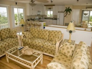 A Peaceful Sound Vacation Rental Living Room in Emerald Isle NC