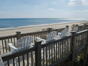 Gull Cottage East Vacation Rental Deck View of Atlantic in Emerald Isle NC