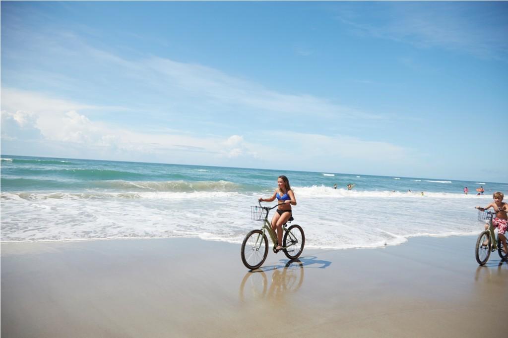 Kids Bike Riding on Emerald Isle NC Beach