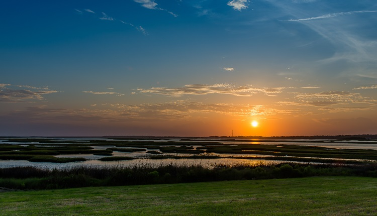 Sunset over Bogue Sound in Emerald Isle