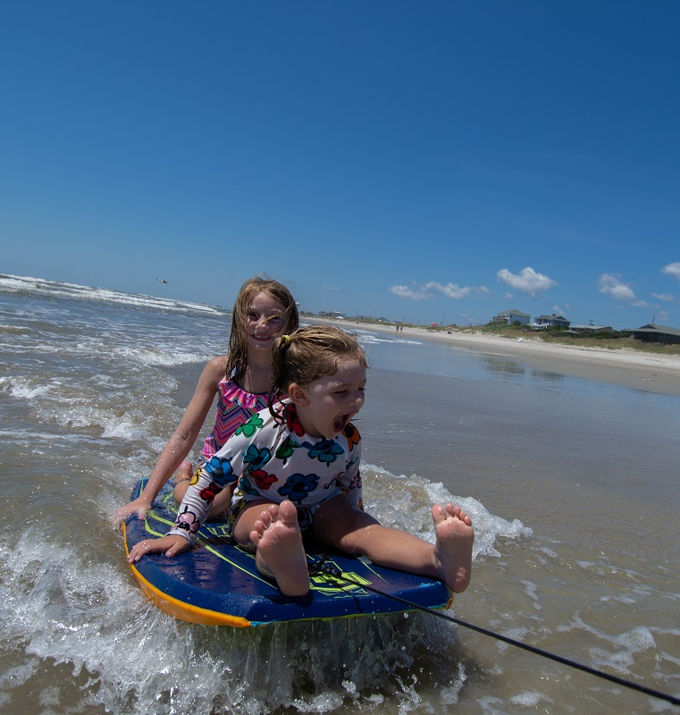 Girls Boogey Boarding on Emerald Isle NC Beaches - Things to Do for Spring Break