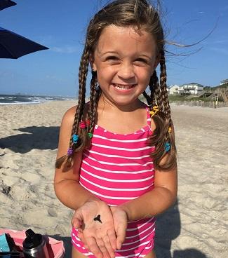 Girl Shelling on NC Beaches