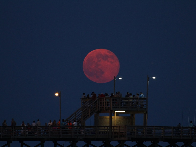 Moon Rise over Bogue Inlet Pier