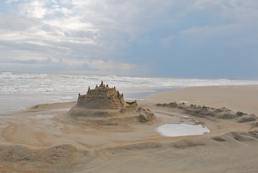 Build a sandcastle at the beach in Emerald Isle NC
