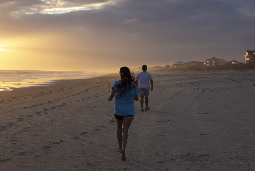 Go walking or jogging on Emerald Isle Beach