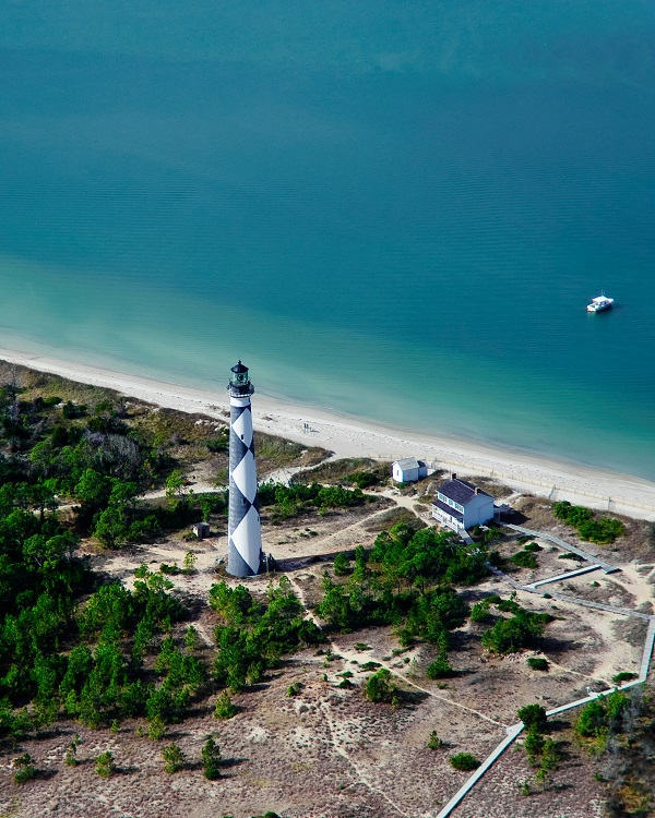 Aerial View of Cape Lookout Lighthouse and National Seashore