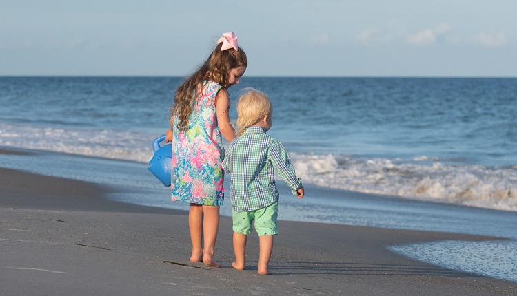 Kids Playing on Crystal Coast Beaches