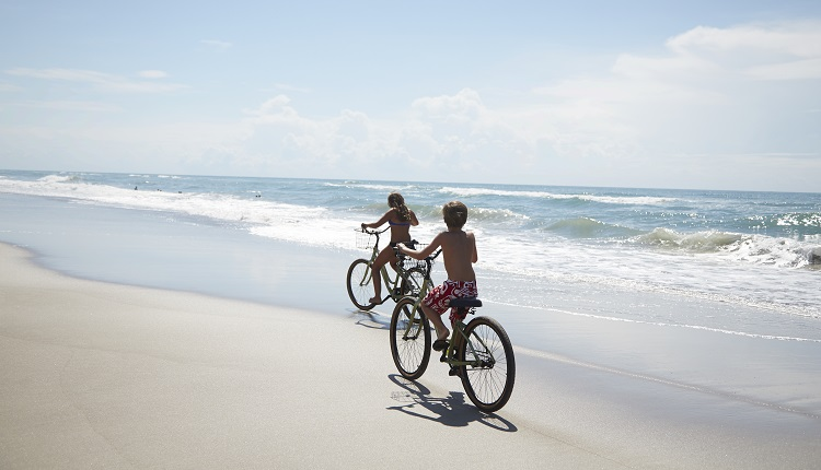 Kids Riding Bikes on Crystal Coast Beaches
