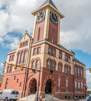 Iconic clock tower at New Bern City Hall