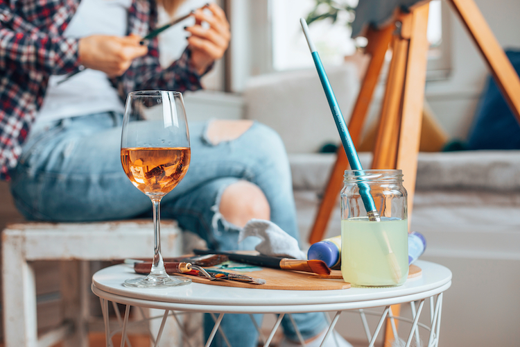 Have a sip and paint session with the girls during your fall getaway