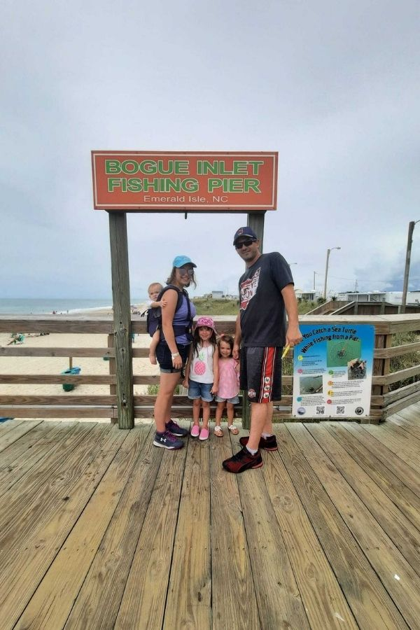 Family with kids at Bogue Inlet Pier