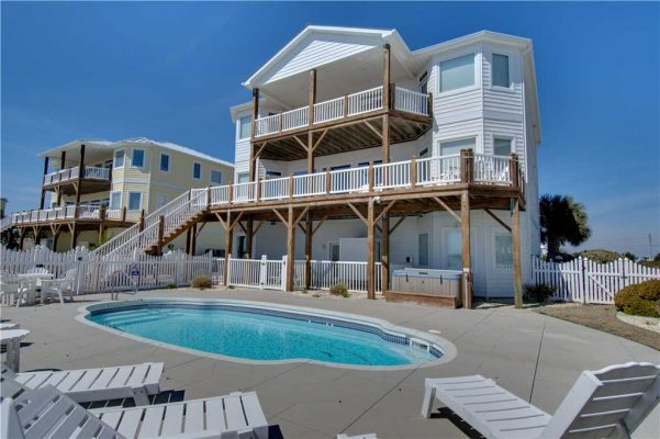 Beach house vacation rental with pool in emerald isle