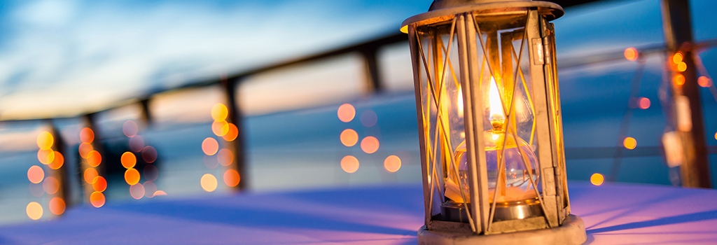 Light on table on beach in emerald isle nc
