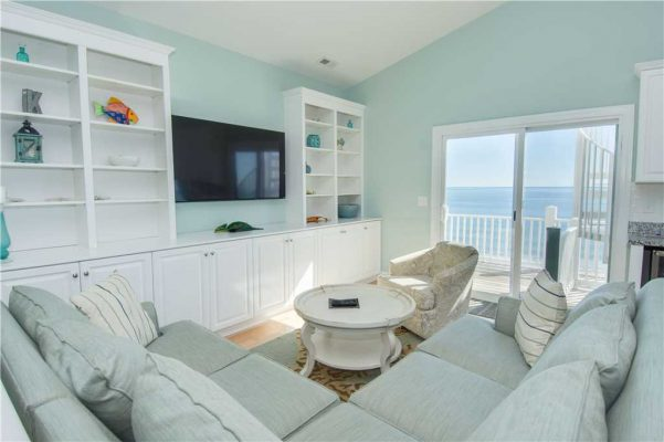 Ocean view in living room in Emerald Isle