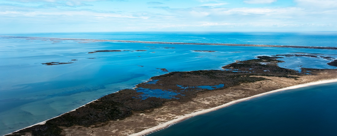 Aerial View of Cape Lookout National Seashore and Shackleford Banks NC