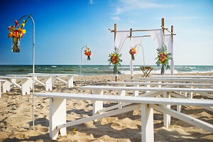Beach Wedding Ceremony Setup in Emerald Isle, NC