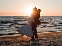 Couple beach wedding