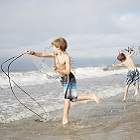 Emerald Isle Kids Cast Netting at Beach