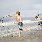 Emerald Isle Kids Cast Netting at Beach