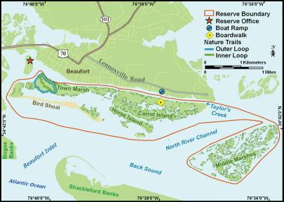 Map of Rachel Carson Reserve