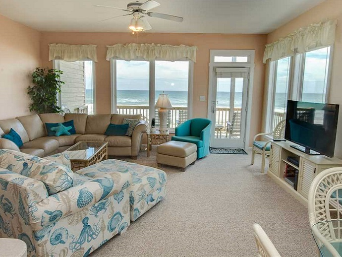 star deck west duplex living room emerald isle nc
