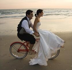 Wedding Couple Riding Bicycle on Beach - Emerald Isle, NC