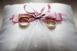 Wedding Rings on Pillow for Beach Ceremony